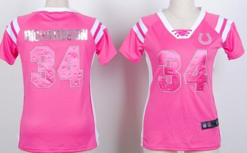 Nike Indianapolis Colts #34 Trent Richardson Drilling Sequins Pink