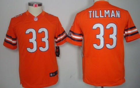 100% authentic 6d890 ff3e7 Nike Chicago Bears #33 Charles Tillman Orange Limited Kids ...