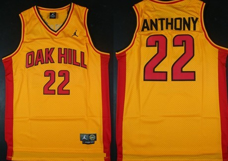 40767d682e80 Oak Hill Academy  22 Carmelo Anthony Yellow Swingman Jersey on sale ...
