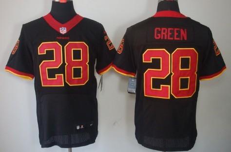Nike Washington Redskins #28 Darrell Green Black Elite Jersey on