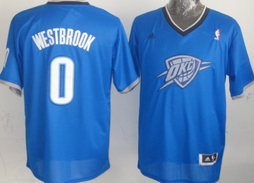 bf613e9d4842 Oklahoma City Thunder  0 Russell Westbrook Revolution 30 Swingman 2013  Christmas Day Blue Jersey