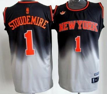 official photos 2665f 0c0da New York Knicks #1 Amare Stoudemire Black/Gray Fadeaway ...