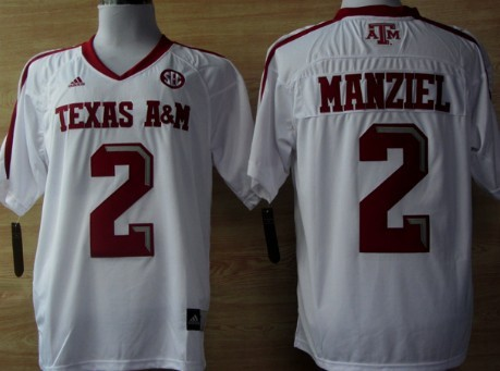 online store c1475 2e5d5 Texas A&M Aggies #2 Johnny Manziel White Jersey on sale,for ...