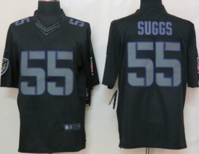 outlet store sale c22da 470d6 Nike Baltimore Ravens #55 Terrell Suggs Black Impact Limited ...