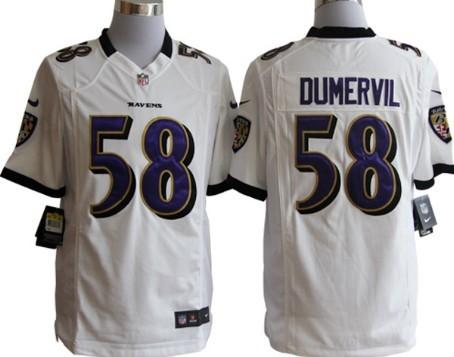 Nike Baltimore Ravens #58 Elvis Dumervil White Game Jersey