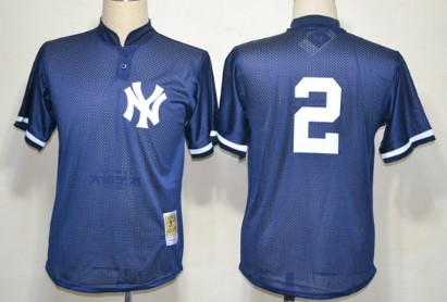 New York Yankees  2 Derek Jeter 1995 Mesh BP Navy Blue Throwback Jersey 21937df6e13
