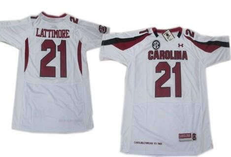 South Carolina Gamecocks #21 Marcus Lattimore White Jersey
