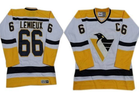 Pittsburgh Penguins  66 Mario Lemieux 1993 White With Yellow Throwback CCM  Jersey 49dd08fe275