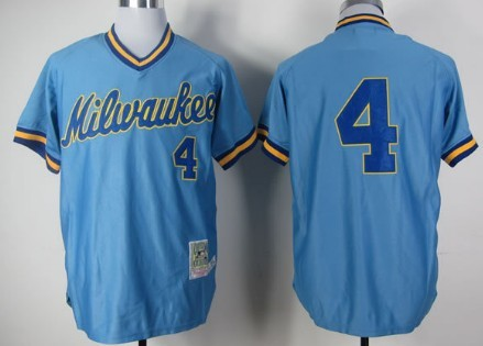 new style bf556 7581b Milwaukee Brewers #4 Paul Molitor 1982 Light Blue Throwback ...