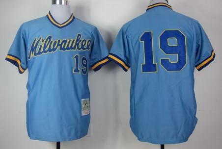 5499c43d Milwaukee Brewers #19 Robin Yount 1982 Light Blue Throwback Jersey ...
