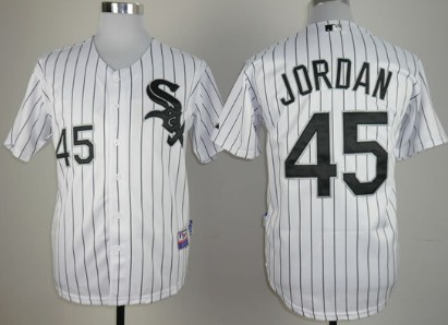 de5a328b293 Chicago White Sox #45 Michael Jordan White With Black Pinstripe Jersey