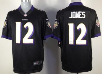 Nike Baltimore Ravens #12 Jacoby Jones Black Game Jersey