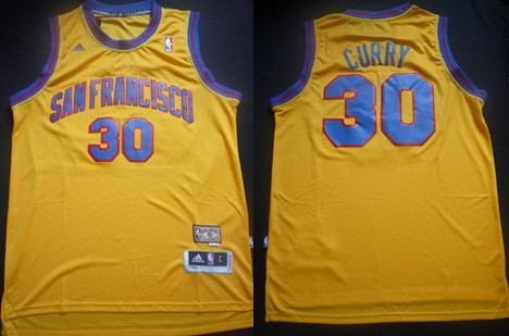 be54b0e9b10 ... san francisco warriors 30 stephen curry aba hardwood classic swingman  yellow jersey