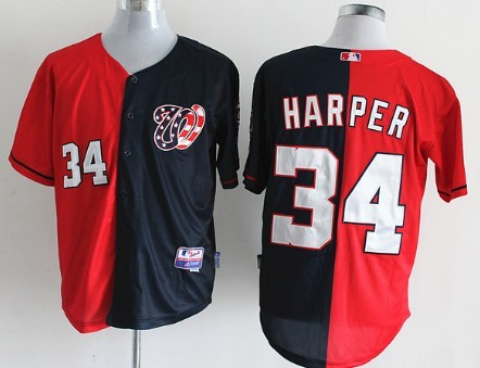competitive price a08e2 f352f Washington Nationals #34 Bryce Harper Red/Navy Blue Two Tone ...