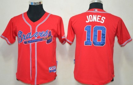 best service 9099d bf792 Atlanta Braves #10 Chipper Jones Red Kids Jersey on sale,for ...