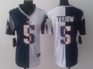 new product 25b28 d91a5 Nike New England Patriots #5 Tim Tebow Blue/White Two Tone ...