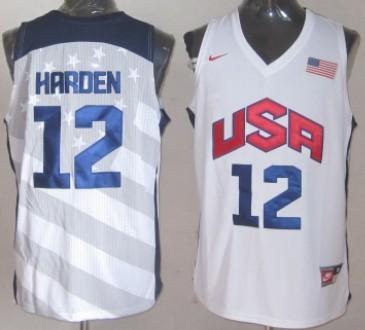 739ebb28a 2012 Olympics Team USA  12 James Harden Revolution 30 Swingman White Jersey
