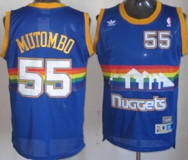 709b6509a550 Denver Nuggets  55 Dikembe Mutombo Blue Rainbow Swingman Throwback Jersey
