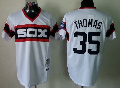 Chicago White Sox #35 Frank Thomas 1983 White Pullover Throwback Jersey