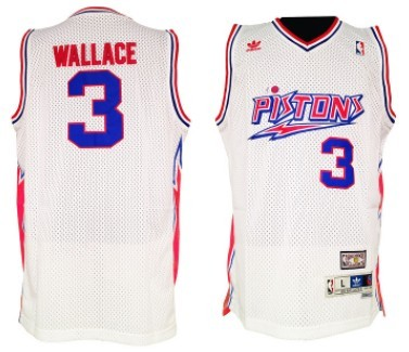 Detroit Pistons  3 Ben Wallace White Swingman Throwback Jersey on ... d8f8854ac