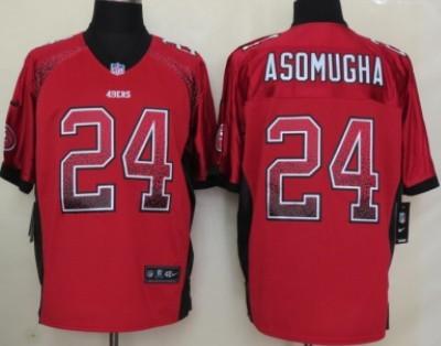95c40622619 Nike San Francisco 49ers  24 Nnamdi Asomugha Drift Fashion Red Elite Jersey