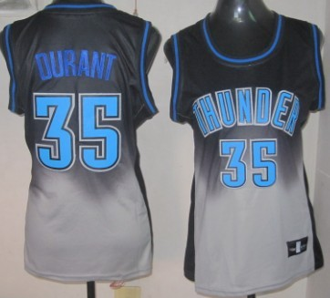 Oklahoma City Thunder #35 Kevin Durant Black/Gray Fadeaway Fashion Womens Jersey