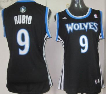 Minnesota Timberwolves #9 Ricky Rubio Black Womens Jersey