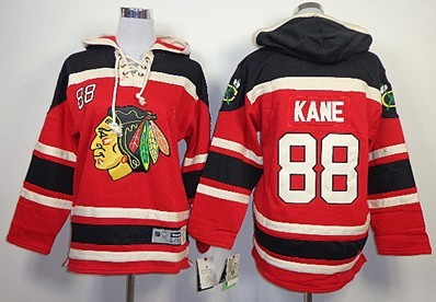 Old Time Hockey Chicago Blackhawks #88 Patrick Kane Red Kids Hoodie