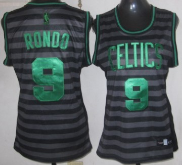 Boston Celtics #9 Rajon Rondo Gray With Black Pinstripe Womens Jersey