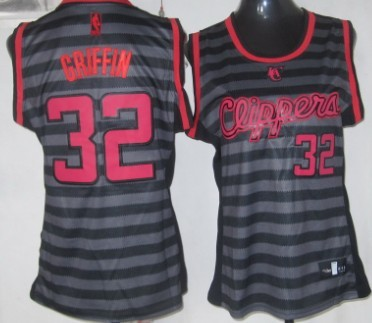 Los Angeles Clippers #32 Blake Griffin Gray With Black Pinstripe Womens Jersey