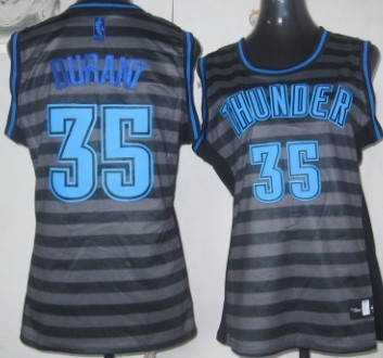 Oklahoma City Thunder #35 Kevin Durant Gray With Black Pinstripe Womens Jersey