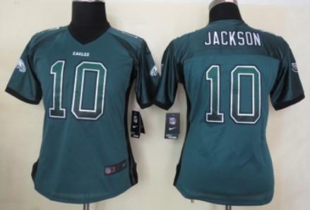 nike philadelphia eagles 10 desean jackson drift fashion green womens jersey