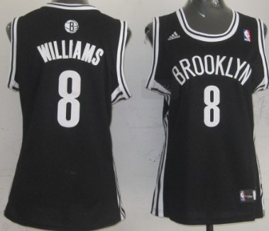 Brooklyn Nets #8 Deron Williams Black Womens Jersey