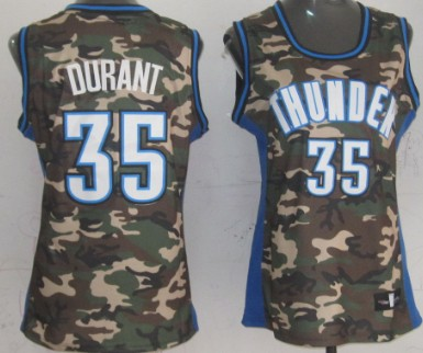 Oklahoma City Thunder #35 Kevin Durant Camo Fashion Womens Jersey