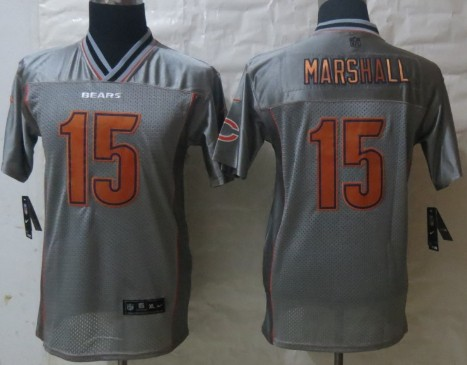 nike chicago bears 15 brandon marshall 2013 gray vapor kids jersey