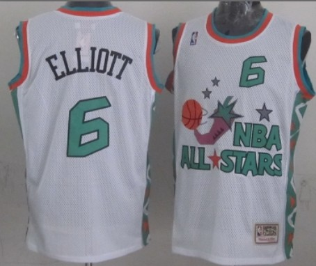 NBA 1996 All-Star #6 Sean Elliott White Swingman Throwback Jersey