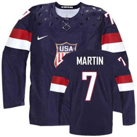 2014 Olympics USA #7 Paul Martin Navy Blue Jersey