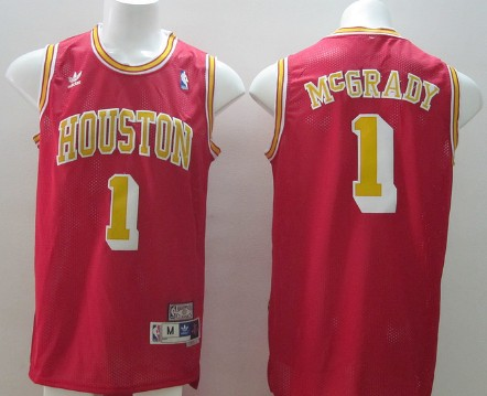 f0bd3fca006 Houston Rockets #1 Tracy McGrady Red With Gold Swingman Throwback Jersey