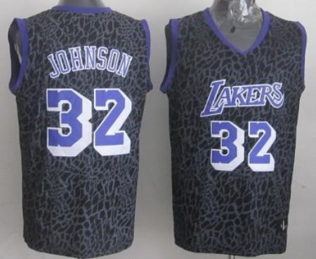 Los Angeles Lakers #32 Magic Johnson Black Leopard Print Fashion ...
