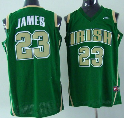 buy online a4b4d 07a54 The Fighting Irish #23 Lebron James Green Jersey on sale,for ...