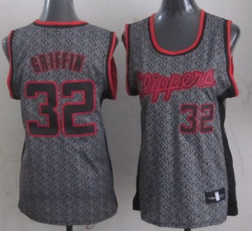 Los Angeles Clippers #32 Blake Griffin Gray Static Fashion Womens Jersey