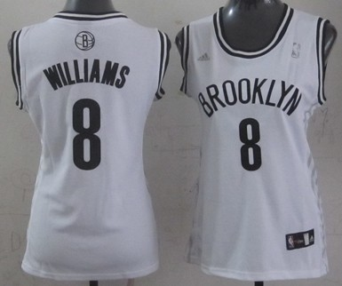 Brooklyn Nets #8 Deron Williams White Womens Jersey