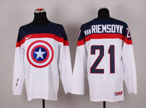 2015 Men's Team USA #21 James van Riemsdyk Captain America Fashion White Jersey