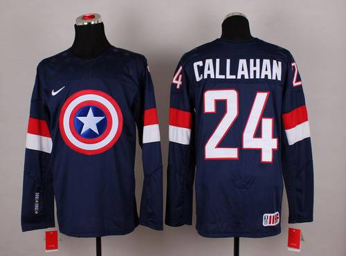 2015 Men's Team USA #24 Ryan Callahan Captain America Fashion Navy Blue Jersey