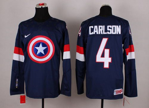 2015 Men's Team USA #4 John Carlson Captain America Fashion Navy Blue Jersey