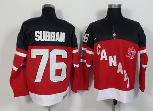 2014-15 Men's Team Canada #76 P.K. Subban Red 100TH Anniversary Jersey