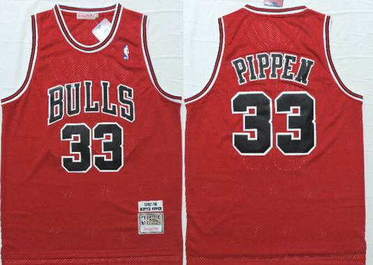 first rate f1c98 5b874 Chicago Bulls #33 Scottie Pippen 1997-98 Red Hardwood ...