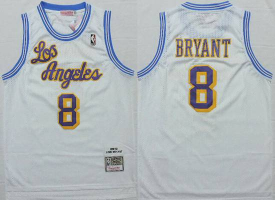 024284b3494 Men s Los Angeles Lakers  8 Kobe Bryant 1996-97 White Hardwood Classics  Soul Swingman Throwback Jersey
