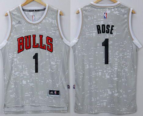 8d3182043 Men s Chicago Bulls  1 Derrick Rose Adidas 2015 Gray City Lights Swingman  Jersey
