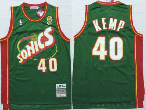 e0f4e97fc Men s Seattle Supersonics  40 Shawn Kemp 1995-96 Green Hardwood Classics  Soul Swingman Throwback
